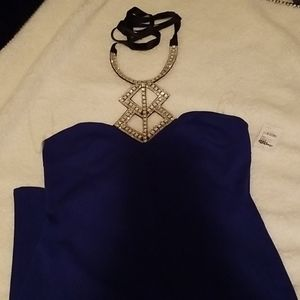 Blue dress with silver neck